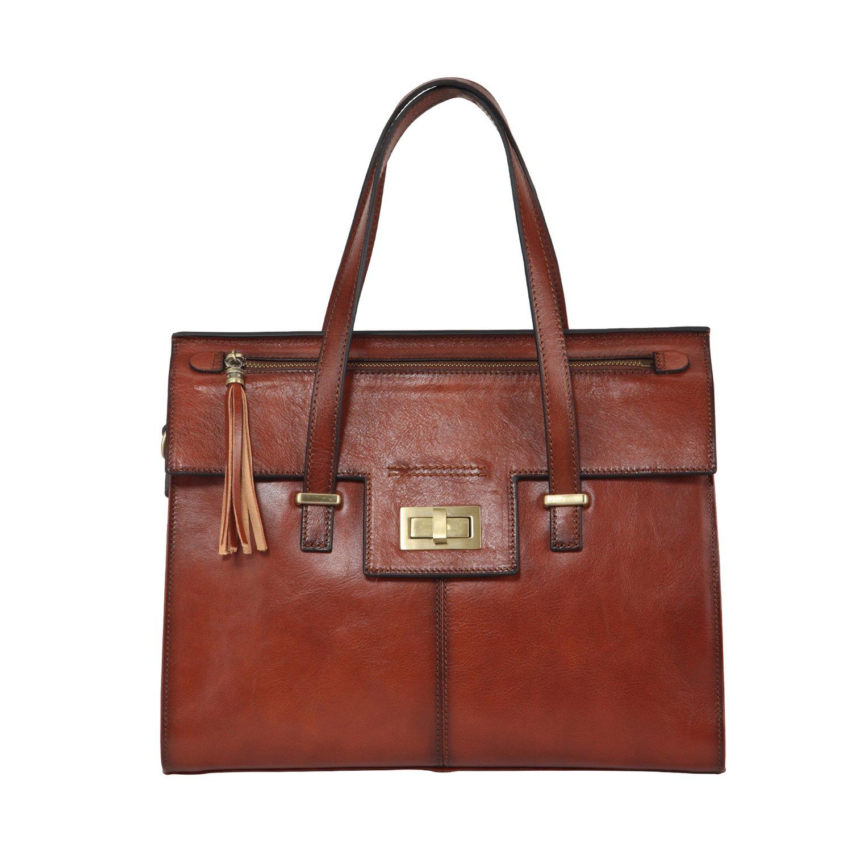 Banuce Women's Vintage Leather Tassel Handbags Top Handle Tote Shoulder Bag