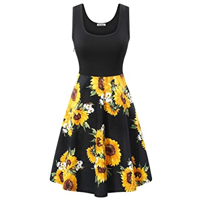 VETIOR Women's Vintage Scoop Neck Midi Dress Sleeveless A-line Cocktail Party Tank Dress at Women's Clothing store