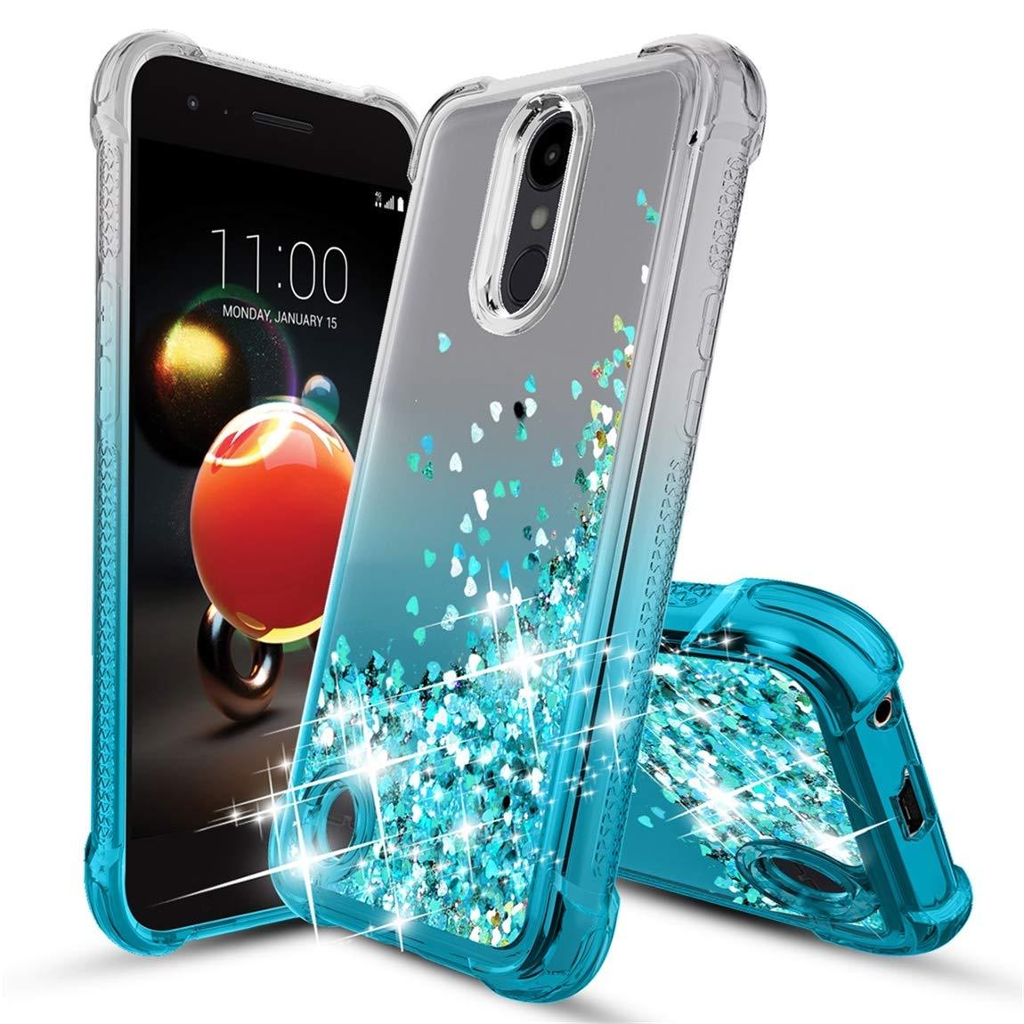 LG Aristo 2 Case,LG Aristo 3/Rebel 4 LTE/Tribute Empire/Dynasty/Fortune 2/Phoenix 4/ Aristo 2 Plus/Zone 4/Risio 3/K8+/LG K8S Phone Case,Glitter Quicksand Protective Phone Cover for Girls Women-Teal