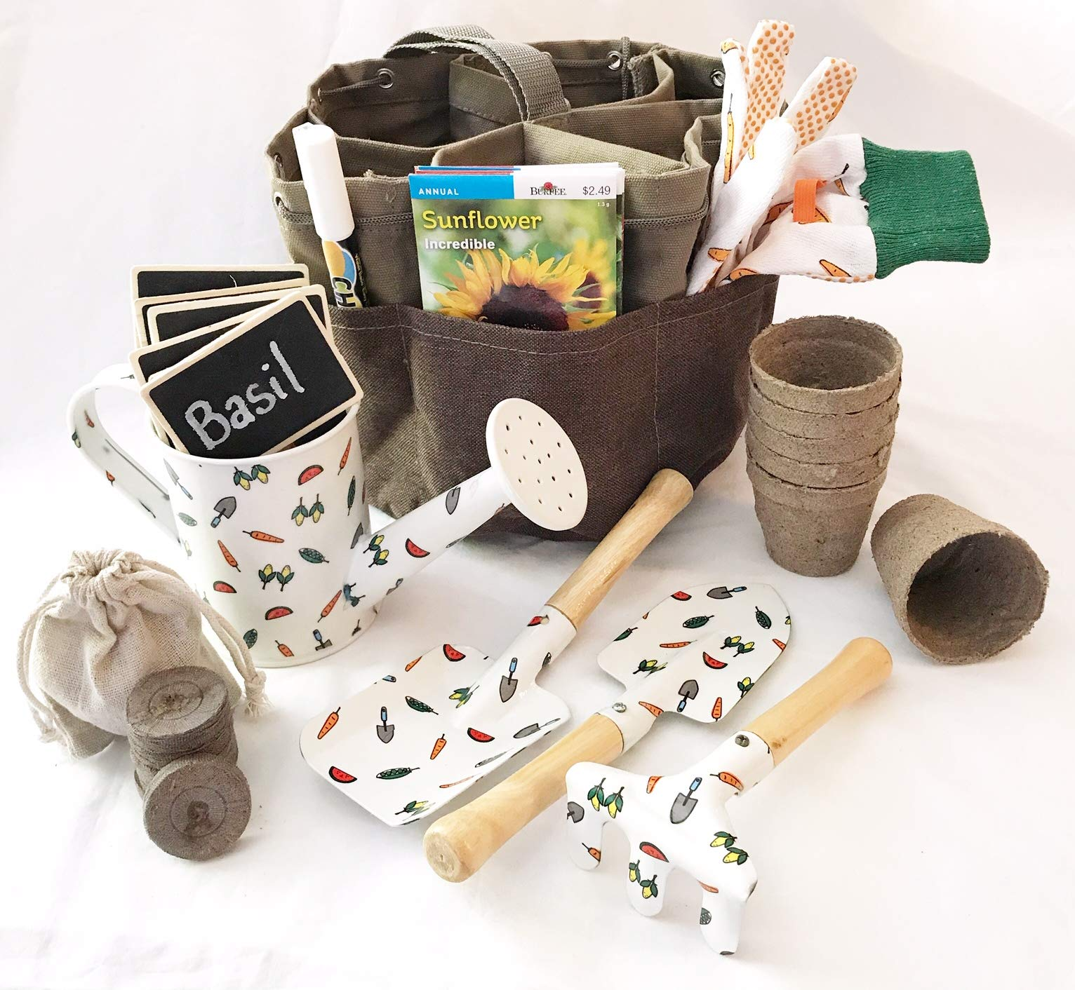 Complete Garden Set for Kids Equipped with Garden Tote Gloves 3 Piece Tool Set Seed Packets Peat Soil Pellets Pots Watering Tin Chalk Tags and Pen (Flowers & Herbs)