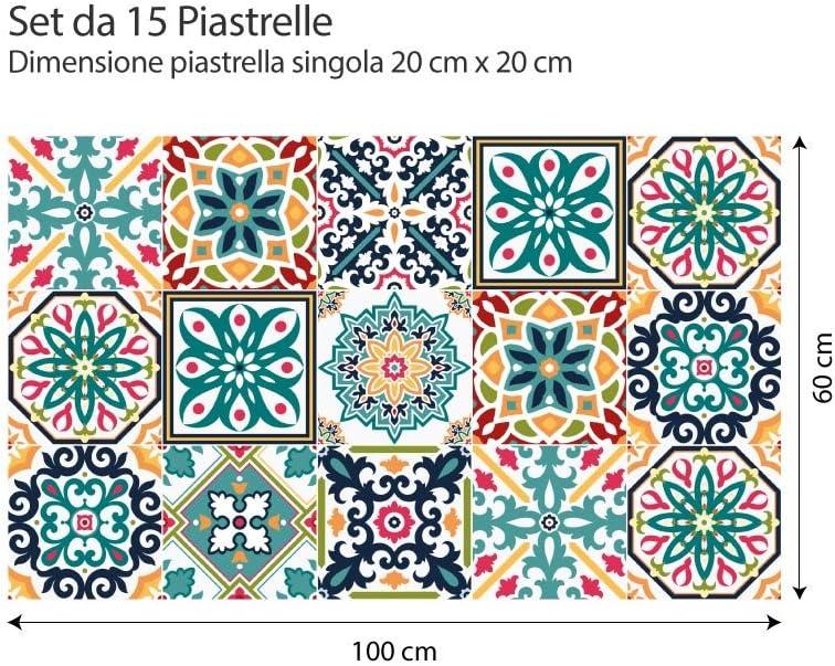 Autocollants pour carreaux Taille 20x20 cm paquet de 24 pi/èces PS00146 Autocollants en PVC pour carreaux de salle de bain et de cuisine Autocollants design art mural Fabriqu/é en Italie Adria