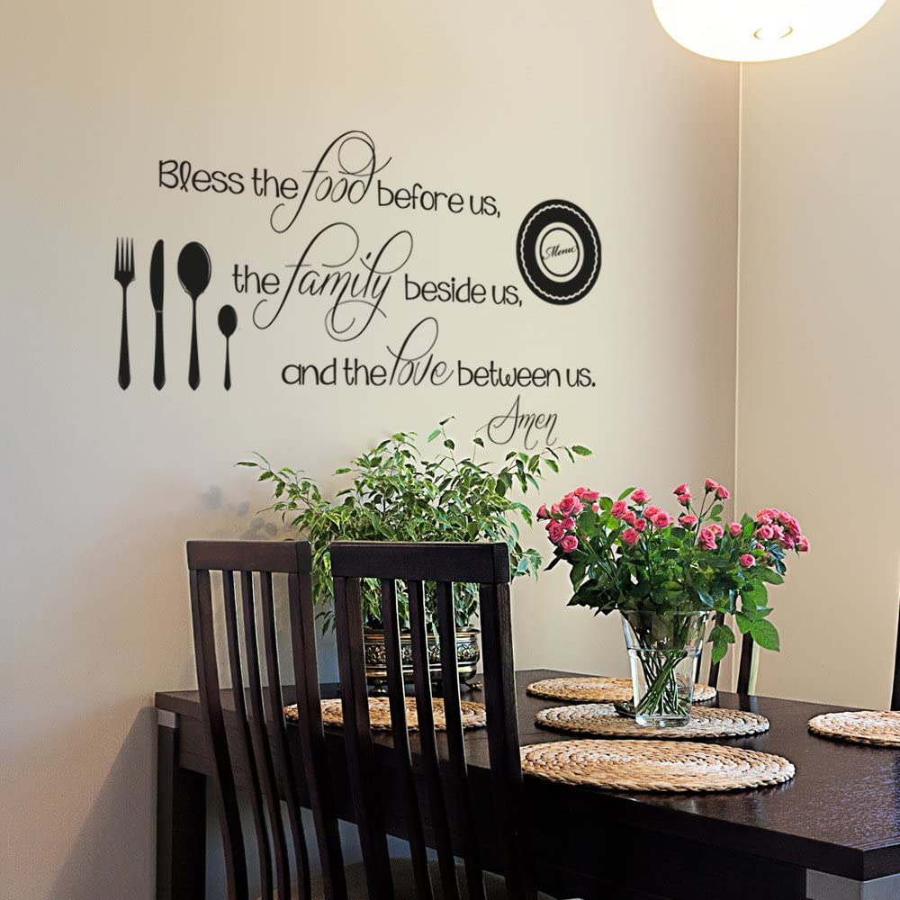 Kitchen Wall Decal Bless The Food Before us Decal Kitchen Wall Quote Dining Room Decal Religious Wall Decal Kitchen Wall Decor (34x20 Black)