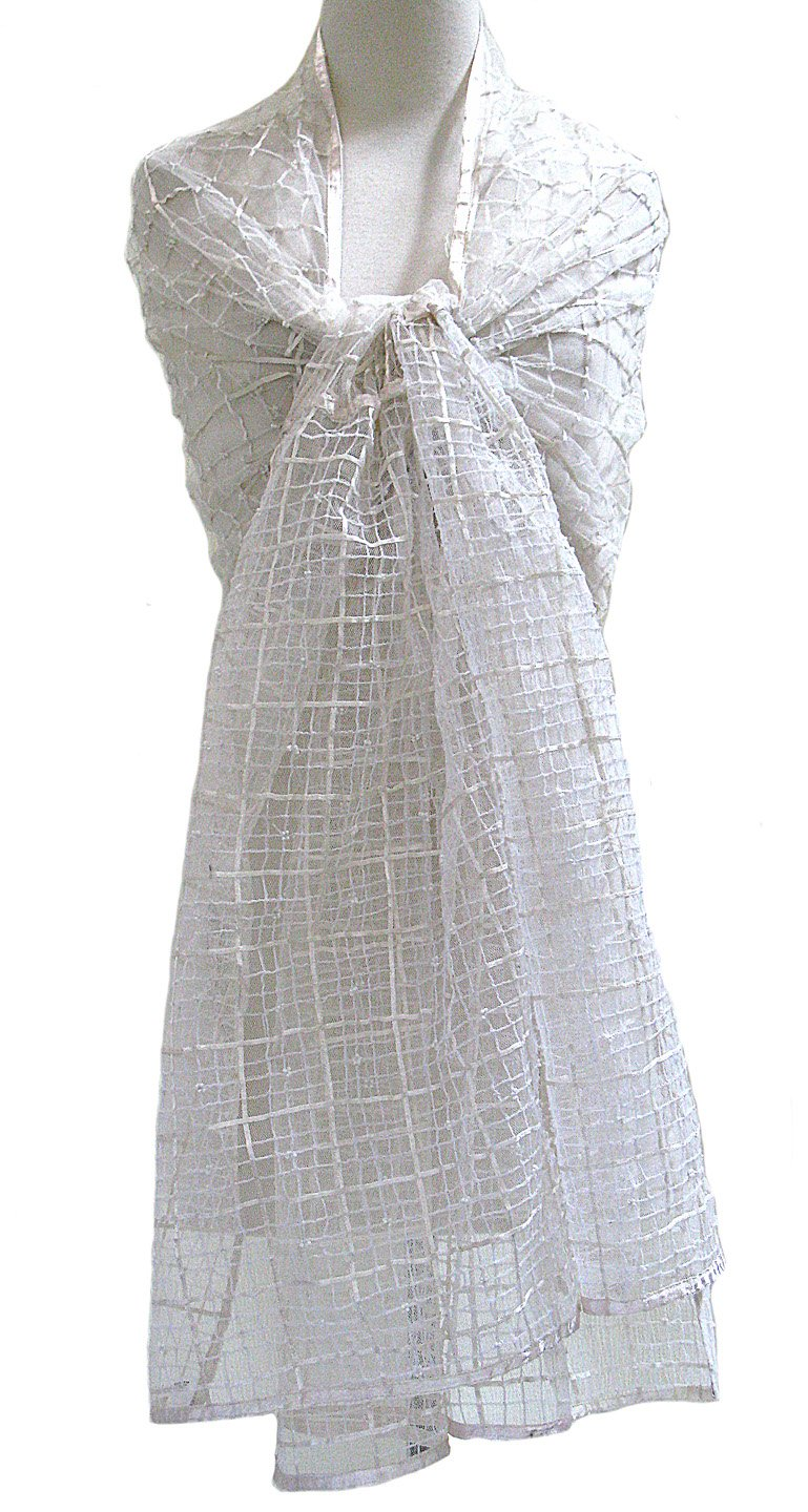 Ribbon Grid Sheer Silk Tulle Net Shawl Wrap Scarf Stole Table Runner Ivory