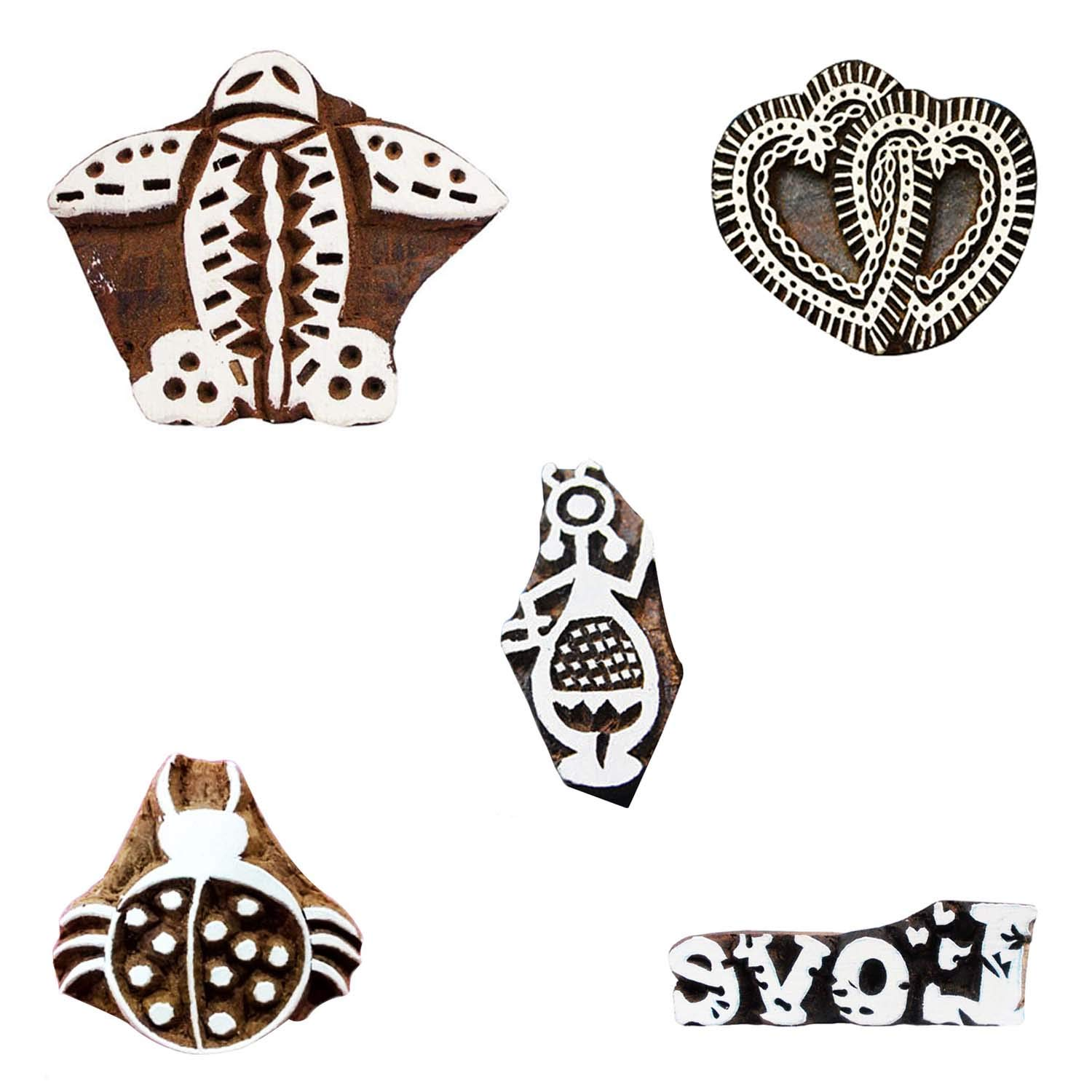 Printing Wooden Block Handcarved Warli Art, Love, Aeroplane, Heart Textile Stamps Pottery Clay Pack of 5 Tattoo Art Stamps Printing Blocks by CraftyArt