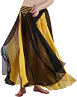 Seawhisper Belly Dance Chiffon Skirt Side Slit Double Color Maxi Skirt with Gold Coins Belt Waist Chain