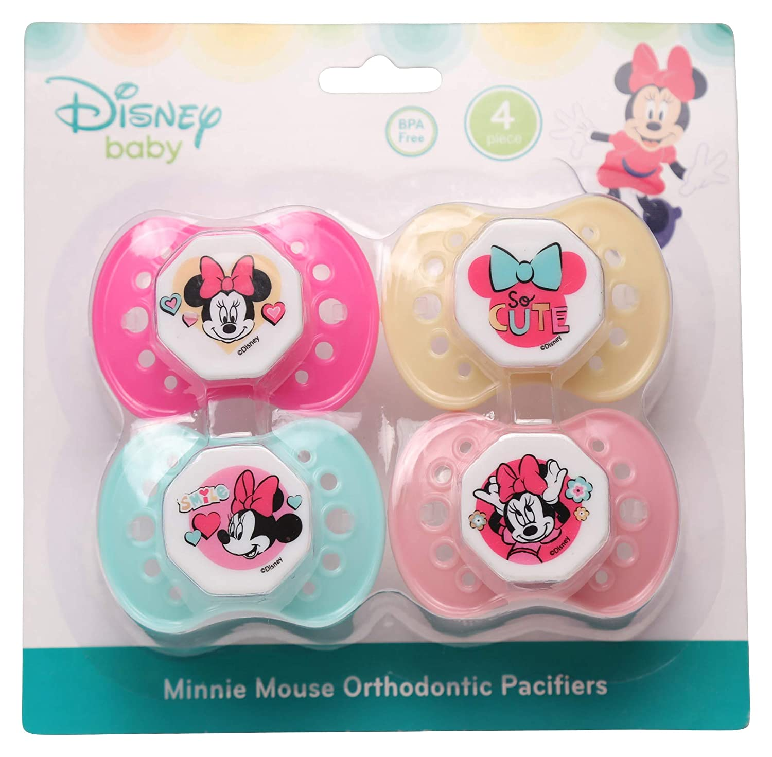 Disney Disney Minnie Mouse Paquete de 4 chupetes: Amazon.es: Bebé