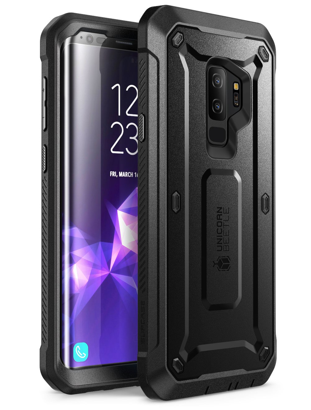 Samsung Galaxy S9+ Plus Case, SUPCASE Full-body Rugged Holster Case with Built-in Screen Protector for Galaxy S9+ Plus (2018 Release), Unicorn Beetle PRO Series - Retail Package (Black)