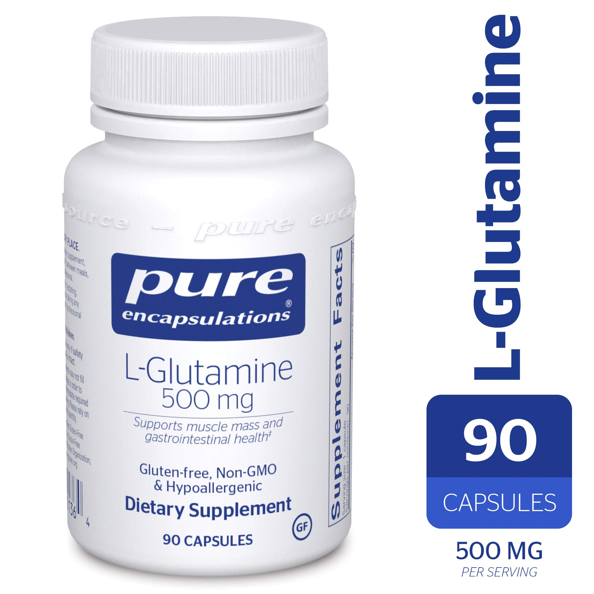 Pure Encapsulations - l-Glutamine 500 mg - Hypoallergenic Supplement Supports Muscle Mass and Gastrointestinal Tract* - 90 Capsules