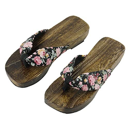 e8c35d39df9f Women s Japanese Style Wood Clog Flip Flops Shoes Anti-Skid Floral Mules  Slippers Wooden Geta