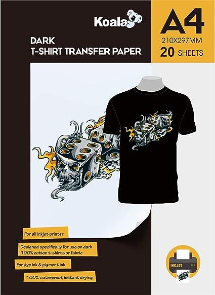 KOALA Papel de transferencia de tinta para camisetas de oscuros, 20 hojas, A4.: Amazon.es: Oficina y papelería
