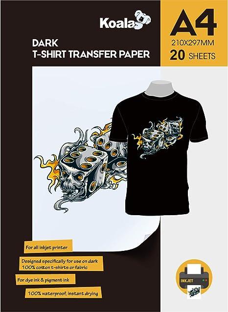 F/ür Tintenstrahldrucker 10 Blatt DIN A3 KOALA Inkjet Transferpapier zum Aufb/ügeln f/ür Dunkle T-Shirt//Textilien