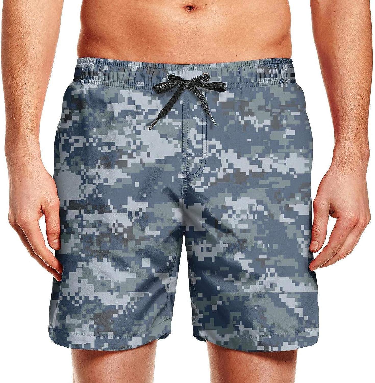 Mens Camo Army Camouflage Military Adjustable Waistline Beach Trunks Elastic Summer Shorts