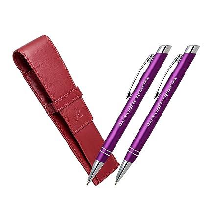 bridal shower gifts 2 x purple ballpoint pens plus red leather pen case blue