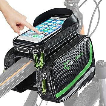 Bolsa para el cuadro de la bicicleta, bolsa para la parte superior del tubo de la bicicleta bolsa para el manillar impermeable de la bicicleta, bolsa ...