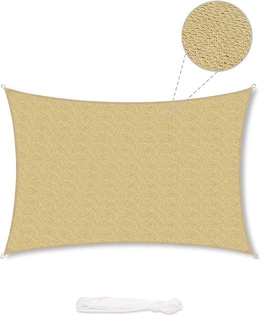 Comprar Sekey Toldo Vela de Sombra Rectangular HDPE Protección Rayos UV Resistente Permeable Transpirable para Patio, Exteriores, Jardín, 3× 4m Arena, con Cuerda Libre