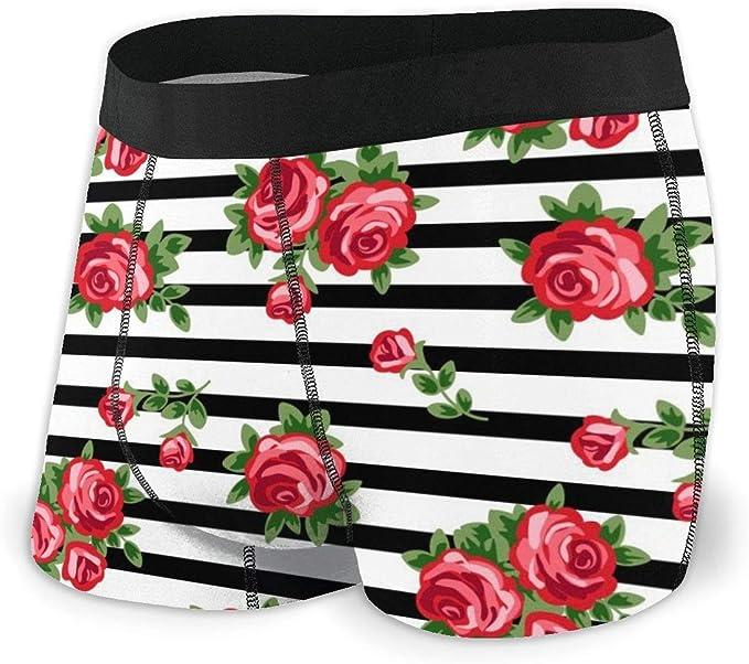 Mens Soft Breathable Decorative Red Floral Underwear Boxer Briefs