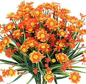 TEMCHY Artificial Daisies Flowers Outdoor UV Resistant 4 Bundles Fake Foliage Greenery Faux Plants Shrubs Plastic Bushes for Window Box Hanging Planter Farmhouse Indoor Outside Decor(Orange Red)