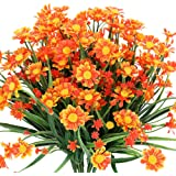 TEMCHY Artificial Daisies Flowers Outdoor UV Resistant 4 Bundles Fake Foliage Greenery Faux Plants Shrubs Plastic Bushes…
