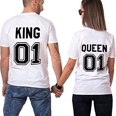 Couple King Shirt Queen San Valentino 100% Cotone T-Shirt Manica Corta  Stampa 01 Maglietta Coppia Regalo di Lovers per Donna Uomo  Amazon.it   Abbigliamento 0f991b3ad72