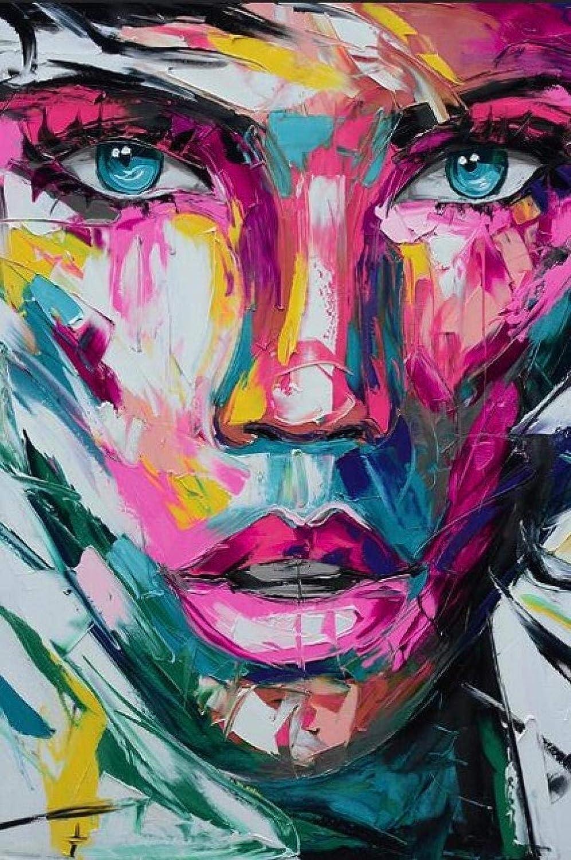 WYTCY Pintar por Números - Colorido Rostro De Mujer. Pintura Al Óleo De Lienzo De Lino, Pintura De Arte Moderno, Kit De Pintura De Bricolaje, Adecuado para Adultos Y Principiantes40*50CM