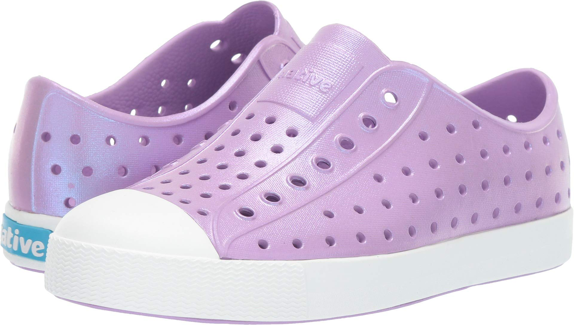 Native Kids Shoes Girl's Jefferson Iridescent (Little Kid) Lavender Purple/Shell White/Galaxy 1 M US Little Kid