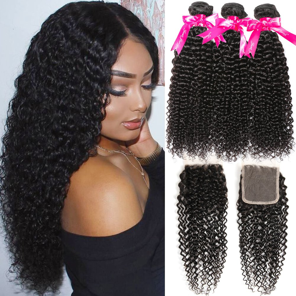 Hermosa 10A Kinky Curly Weave Human Hair Bundles with Closure Good Quality Brazilian curly Hair 3 Bundles with Closure 16 18 20+14inch