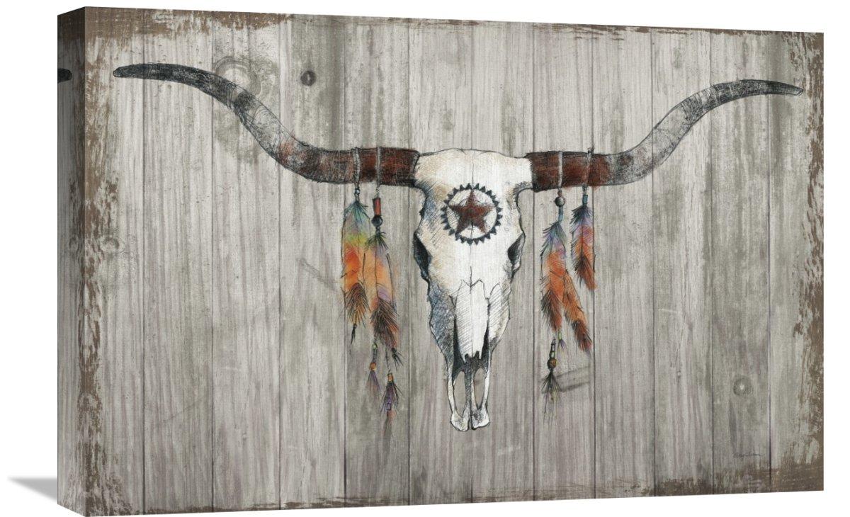 Global GalleryAvery Tillmon Longhorn on Dark Gray Wood Giclee Stretched Canvas Artwork 24 x 16