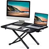 FITUEYES Height Adjustable Standing Desk 30'' Gas Spring Riser Desk Converter for Dual Monitor Sit to Stand in Seconds FSD108