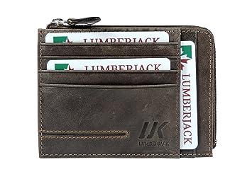 ecb6f7d53f LUMBERJACK Porta Carte di Credito Uomo con Portamonete a Zip VERA PELLE  Marrone - portafoglio Porta Documenti: Amazon.it: Valigeria