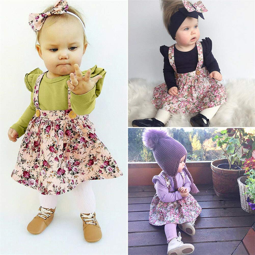 Toddler Baby Girl Floral Straps Skirt Flower Printing Bowknot Pleated Party Skirts Dress Outfit