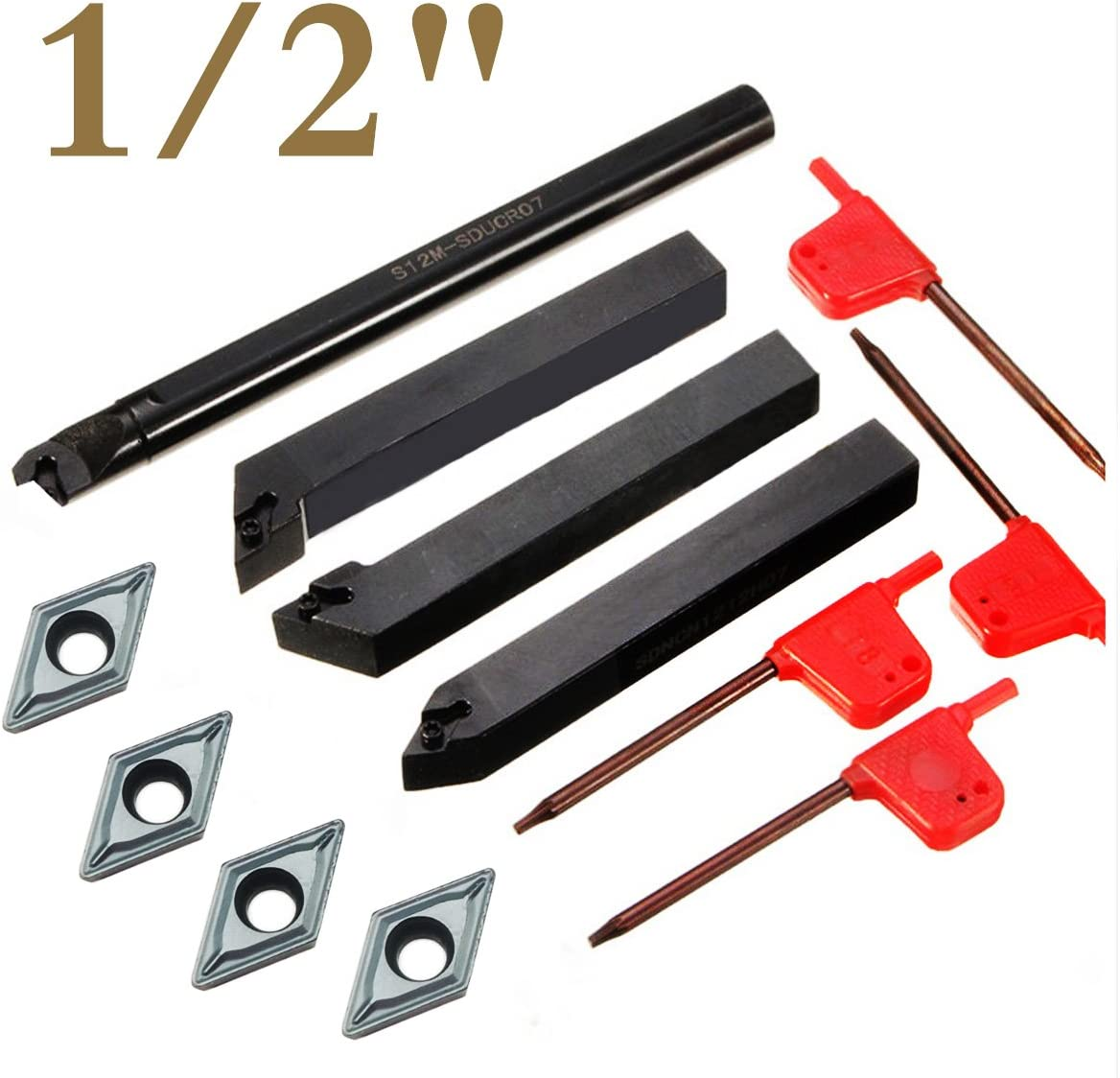 4 Piece 1//2 Mini Lathe Indexable Carbide Turning Tool Holder Bit Set With 4PCS DCMT21.51 Indexable Carbide Turning Insert