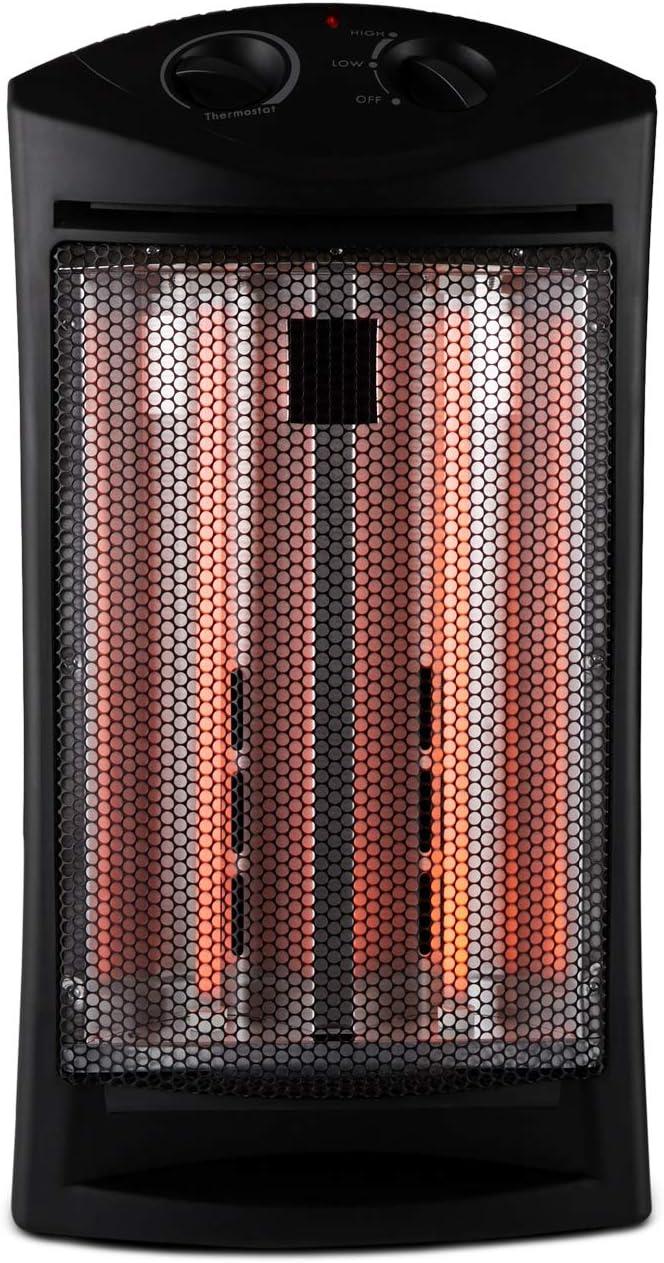 Black Limina LIM-19-100006 Portable Home Office Electric 1500 Watt Infrared Quartz Room Space Heater