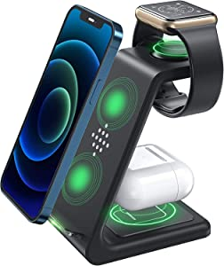 3 in 1 Wireless Charger, Wireless Charging Station, Charging Station Dock, Compatible with Apple Watch Series 6/SE/5/4/3/2, AirPods Pro, iPhone 12/12 Pro/ 11, Samsung S21/ S20 /Note 20