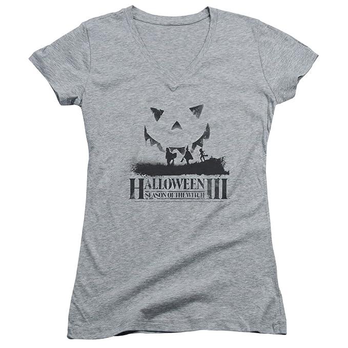 Halloween III Horror Slasher película serie Silhouette Juniors Camiseta de cuello en V Tee: Amazon.es: Ropa y accesorios