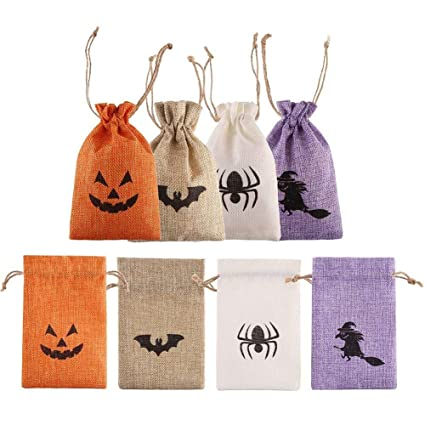 DECORA Burlap Gift Bags with Double Jute Drawstrings Candy Pouch Halloween Treat Bags with Different Designs Pack of 50
