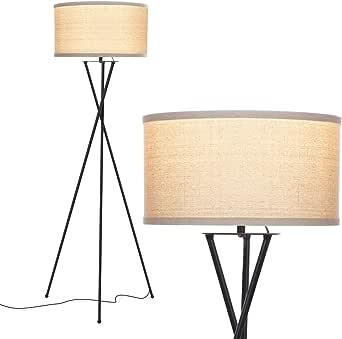 Brightech Jaxon Tripod LED Floor Lamp – Mid Century Modern, Living Room Standing Light – Tall, Contemporary Drum Shade Lamp for Bedroom or Office – Black