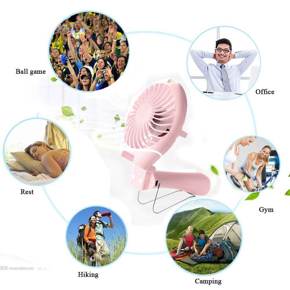 boxiri Tragbar Mini Handventilator Ventilatoren Ruhig Fan Lüfter Geschwindigkeit der Anpassung mit USB Aufladbare Batterie(Rosa)