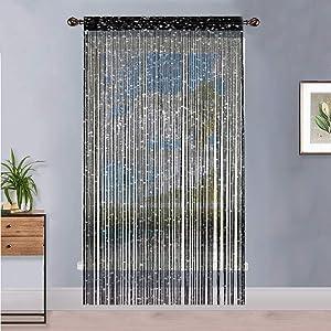 Timere Door String Curtain Tassel Curtain - Partition Door Curtain String Curtain Door Screen Panel Home Decor Window Divider Tassel Screen 90x200cm (2 Pack, Black)