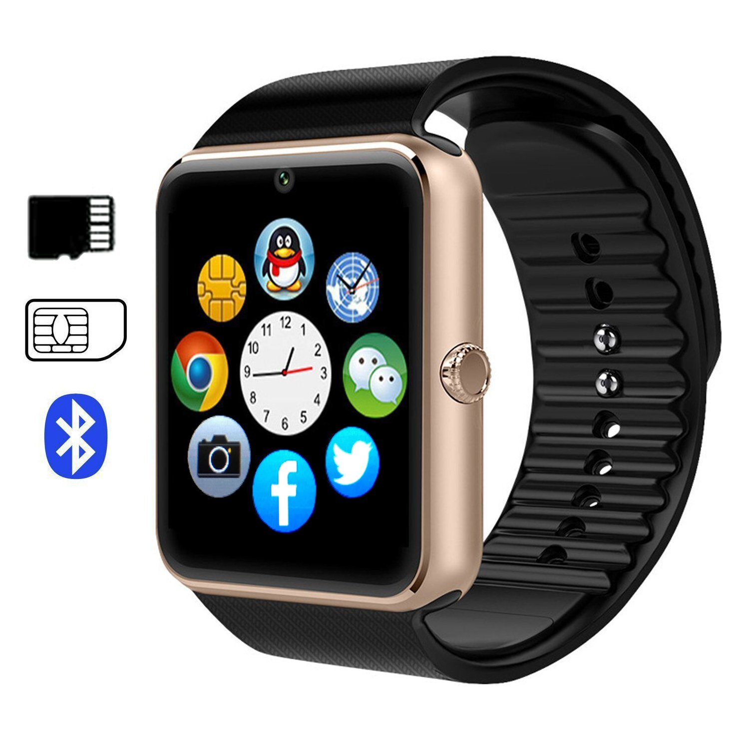EiffelT Smart watch GT08 Touch Screen Bluetooth WristWatch with Camera/SIM Card Slot/Sleep Monitoring for Android (Full Functions) and IOS (Partial Functions) (Rose Gold)