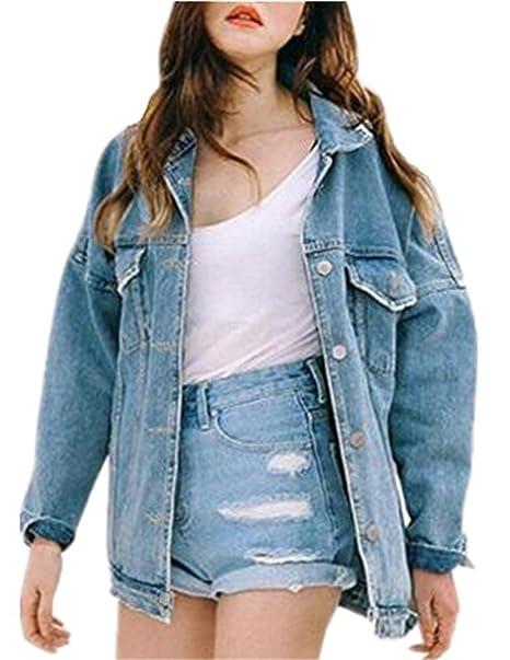 Donna Giacca Jeans Cardigan Manica Lunga Giacca Capispalla Lungo Giubbino