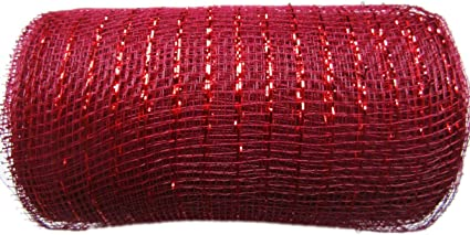 YYCRAFT 10 Yards Metallic Deco Poly Mesh Ribbon for Decoration//Wreath Making Craft , Dark Red 6 x 10 Yards 30 feet