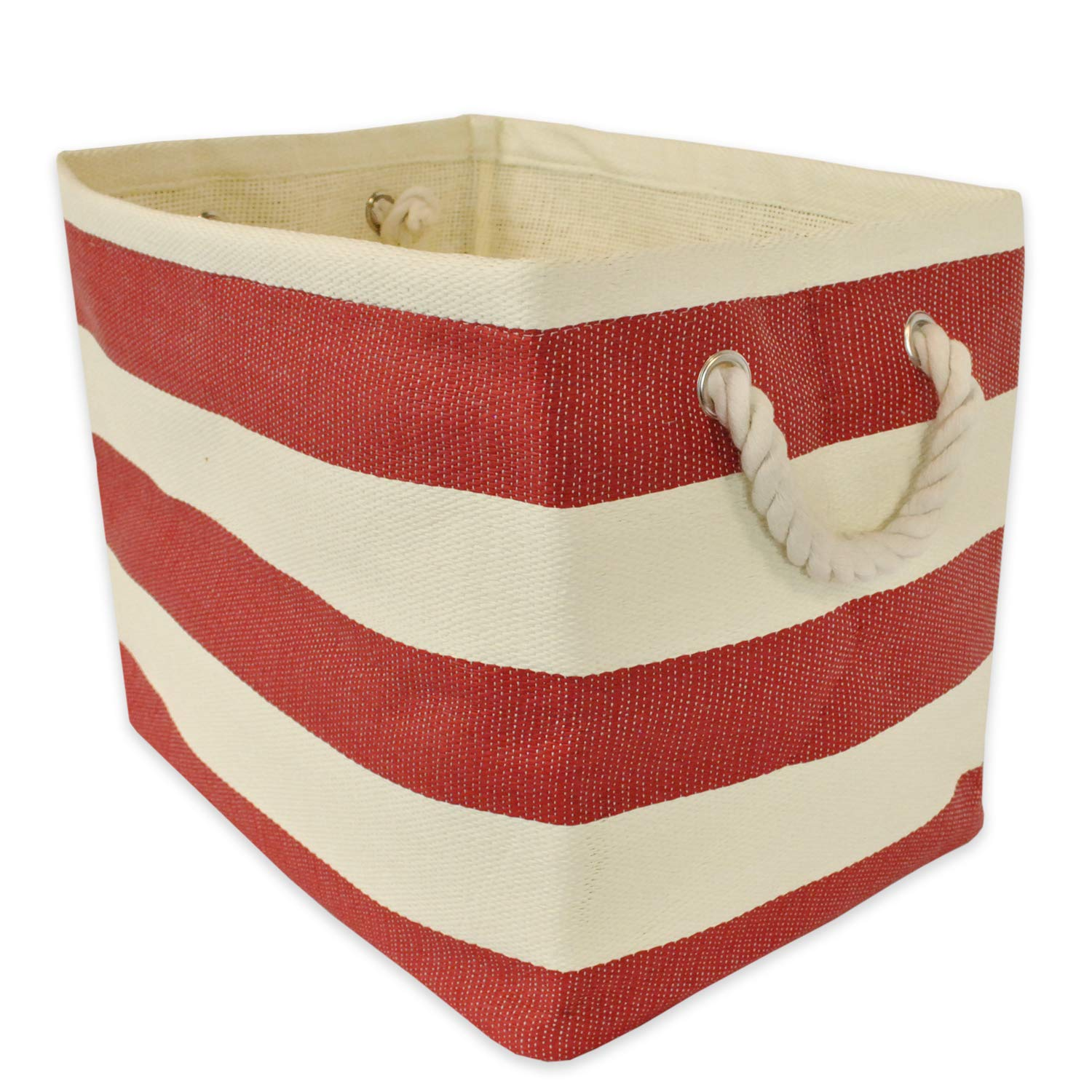 Diva At Home 15'' Red and Ivory Striped Pattern Medium Sized Rectangular Paper Basket by Diva At Home
