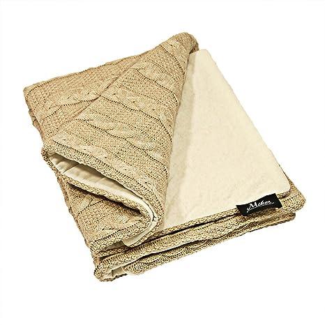 mikos Baby manta colcha de punto (85 x 75 cm y cojín 30 x 30 ...