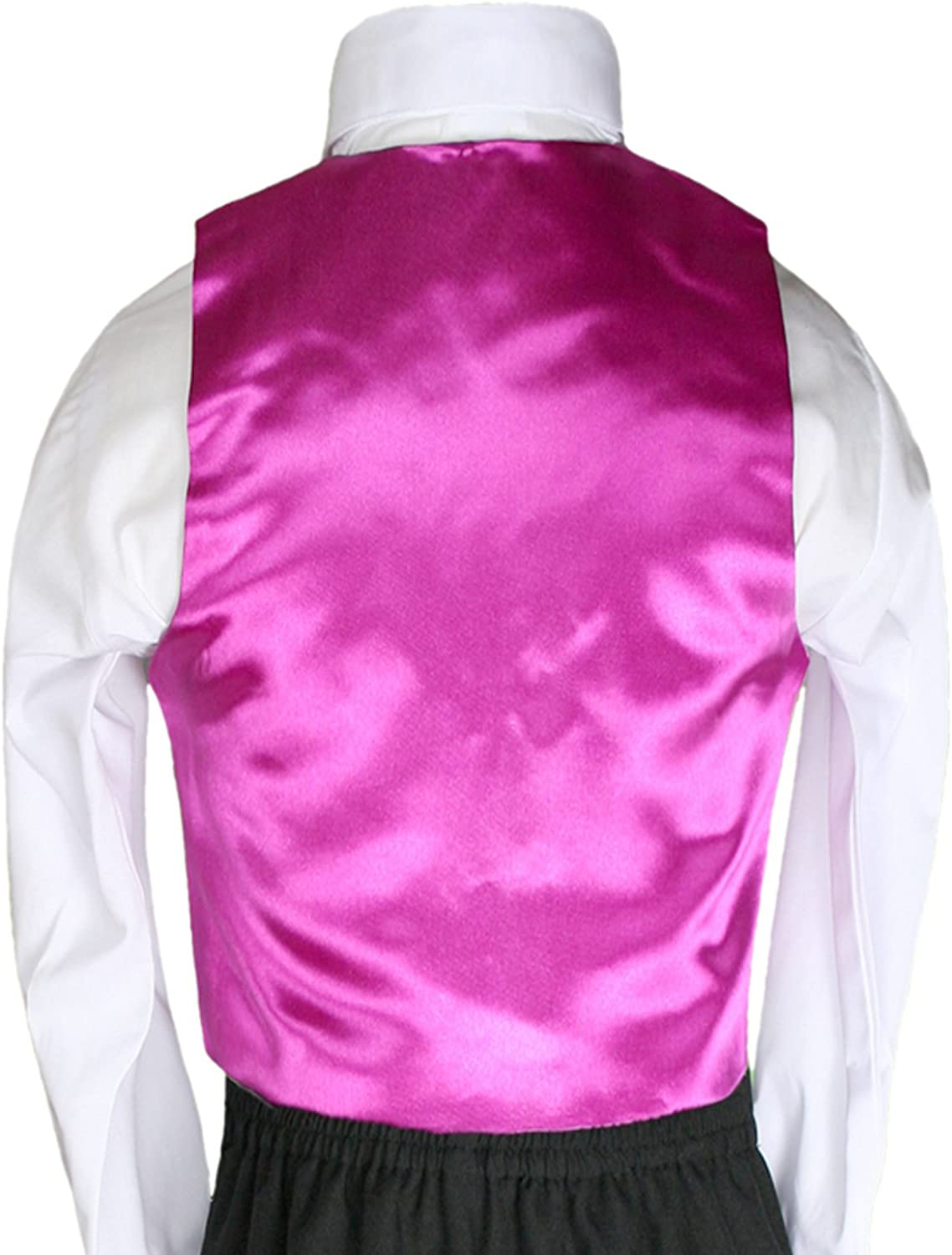 Unotux 2pc Boys Satin Fuchsia Vest and Bow tie Sets from Baby to Teen