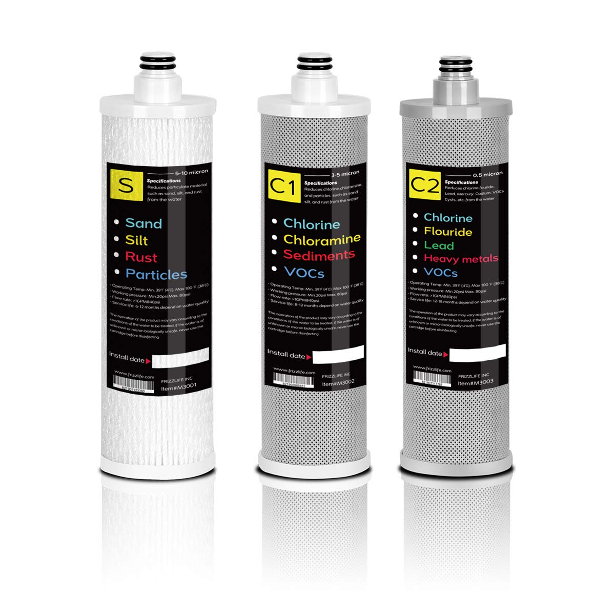 FRIZZLIFE M3004 Replacement Filter for SP99 SK99 Water Filter System (3 Pack)