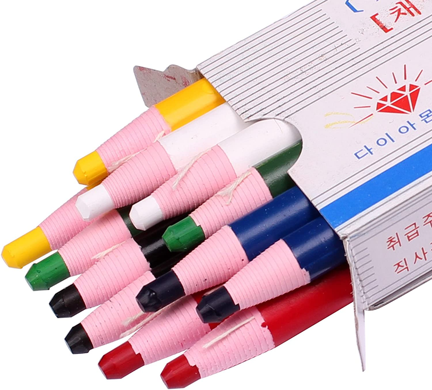 Diamond Peel-Off China Markers, Glass, Cellophane, Vinyl, Metal, Skin, Etc..Assorted - Pack of 12 (Color Mix - 2×6 Color) : Office Products