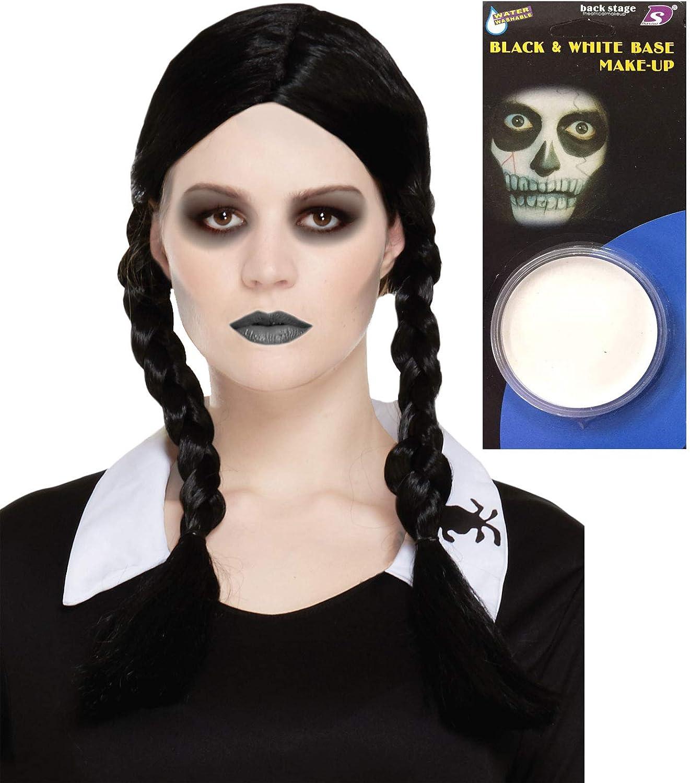 PARRUCCA Halloween Spaventoso figlia mercoledì Adams Costume