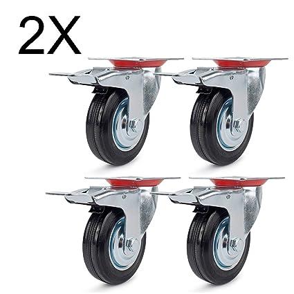 8 ruedas con freno 75 mm, ruedas de transporte carga pesada ruedas ruedas o para