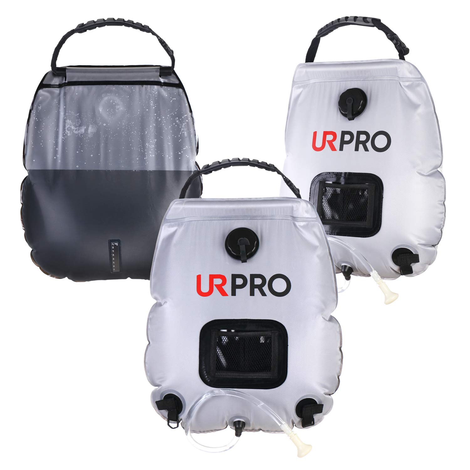 URPRO Solar Shower Bag Camping Shower Bag Hot Water with Temperature 45/°C Removable Hose on//Off Shower Head Hiking Climbing Summer Shower