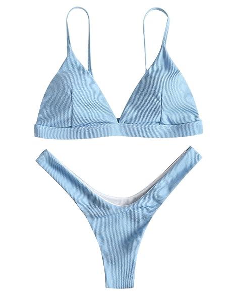 4d73c2244e Amazon.com  ZAFUL Women Sexy Brazilian Bikini 2 Piece Spaghetti Strap Top  Thong Swimsuit Bathing Suit  Clothing